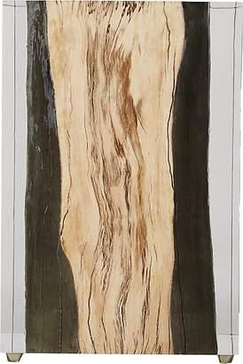 Bleu Nature Nilleq Metallic Driftwood-Inset Acrylic Side Table