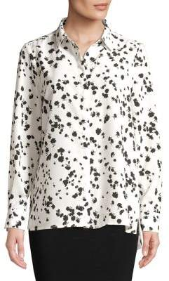 Ellen Tracy Printed Chiffon Button-Down Shirt