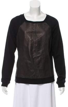Aiko Embossed Leather Sweatshirt