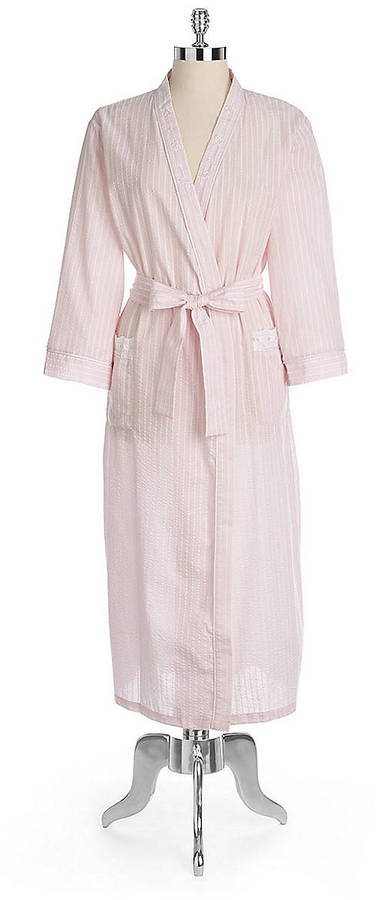 Miss Elaine Long Striped Wrap Robe