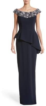 Pamella Roland Embellished Off the Shoulder Peplum Gown