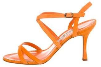 Manolo Blahnik Suede Crossover Sandals