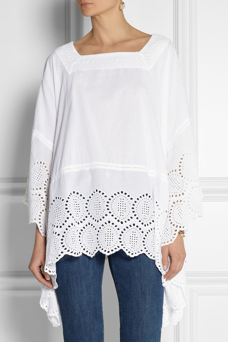 MICHAEL Michael Kors Eyelet-trimmed cotton poncho-style top