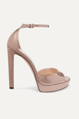 8ab2109d81c Jimmy Choo Pattie 130 Metallic Leather Platform Sandals - Gold