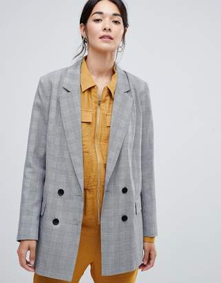 Vila Rouched Sleeve Check Tailored Blazer