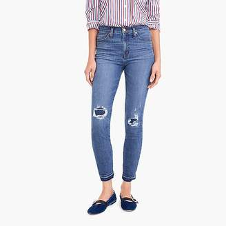 "J.Crew Petite 9"" toothpick jean in rip & repair wash"
