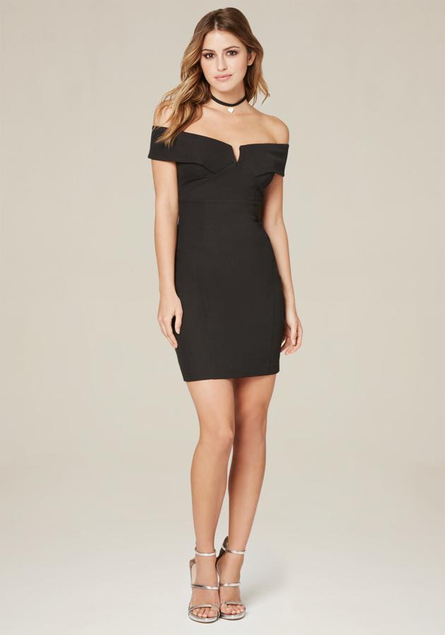 BebeAckerly V-Notch Mini Dress