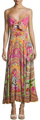 Camilla Embellished Tie-Front A-Line Maxi Dress, Hani Honey $630 thestylecure.com