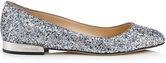 Jimmy Choo JESSIE FLAT Bubblegum Coarse Glitter Fabric Round Toe Pumps