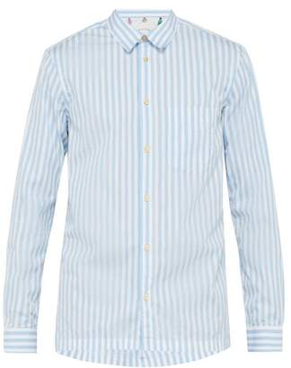 Paul Smith Frayed Collar Striped Cotton Shirt - Mens - Blue Multi