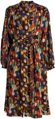 Tomcsanyi - Nepliget Face Print Gathered Shirt Dress