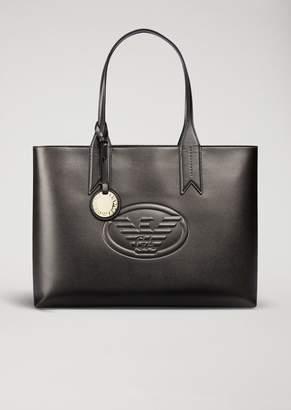 Emporio Armani Metallic Tote Bag With Charm And Logo