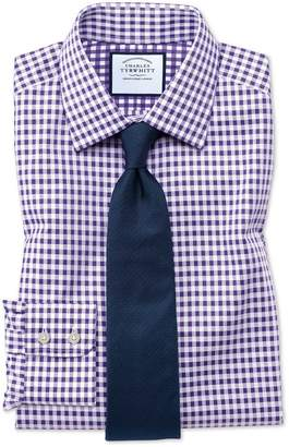 Charles Tyrwhitt Slim Fit Non-Iron Gingham Purple Cotton Dress Shirt Single Cuff Size 15/34