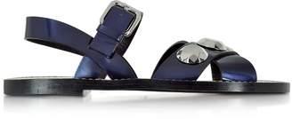 Jil Sander Dark Blue Leather Flat Sandal