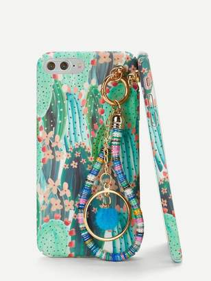 3246096a63 Shein Cactus Print iPhone Case With Charm