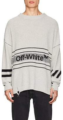 Off-White Men's Logo-Knit Distressed Cotton-Blend Sweater - Light Gray