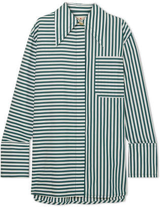 Marni Oversized Striped Cotton-poplin Shirt - Petrol
