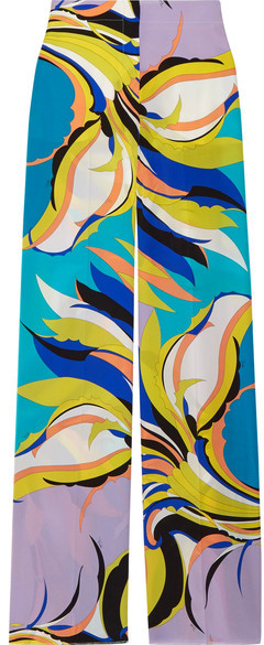Emilio Pucci - Printed Silk Crepe De Chine Wide-leg Pants - Lilac
