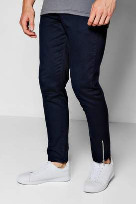 boohoo Navy Cropped Ankle Zip Detail Slim Chino