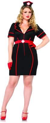 Leg Avenue Women's Plus-Size 3 Piece Naughty Night Nurse, Black/Red