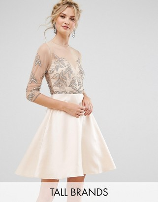Maya Tall Allover Embellished Mini Prom Skater Dress $127 thestylecure.com