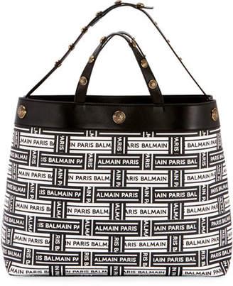 Balmain Toile Enduite Logo Tote Bag