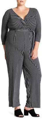 Derek Heart Striped Tie Waist Jumpsuit (Plus Size)