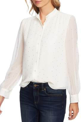 Cynthia Steffe CeCe by Puffed Shoulder Button Down Blouse