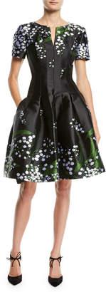 Oscar de la Renta Short-Sleeve Split-Neck Fit-and-Flare Floral-Embroidered Dress