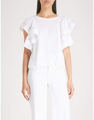 See by Chloe Frilled-sleeve cotton-jersey top