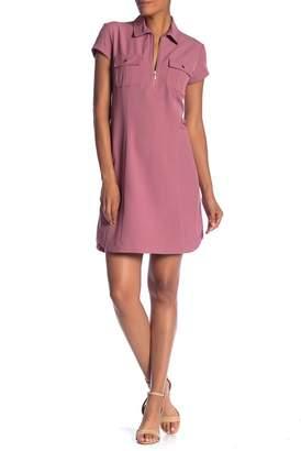 Sharagano Short Sleeve Front Zip Dress