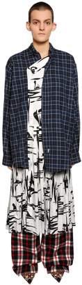Balenciaga Cotton Flannel & Silk Jacquard Dress