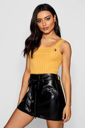 boohoo Square Neck Button Front Knit Top