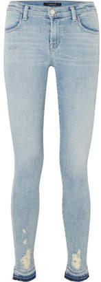 J Brand 620 Super Skinny Distressed Mid-rise Jeans - Light denim