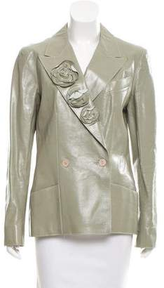 Chanel Patent Leather Camellia Jacket