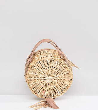 South Beach Round Straw Cross Body Bag With Tassel