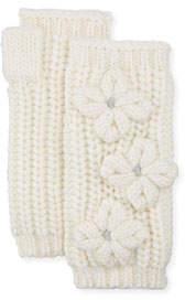 Portolano Knit Fingerless Gloves with Flower Details