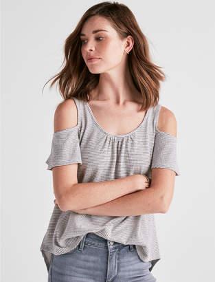 Lucky Brand Stripe Cold Shoulder Short Sleeve Top