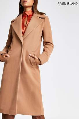 River Island Womens Camel Single Breasted Wool Coat - Brown