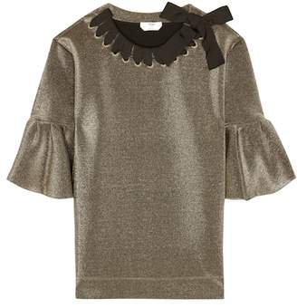 Fendi Metallic ribbon-woven top