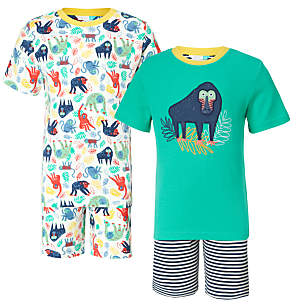 Children's Monkey Jungle Shortie Pyjamas, Pack of 2, White/Green