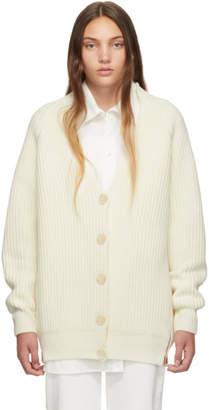 Stella McCartney Off-White Zipper V-Neck Cardigan