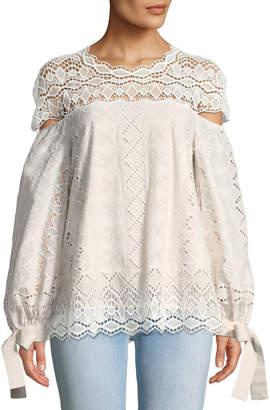 Jonathan Simkhai Diamond Lace Blouson-Sleeve Blouse