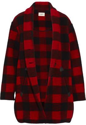 Etoile Isabel Marant Gino Oversized Checked Wool-blend Coat - Black