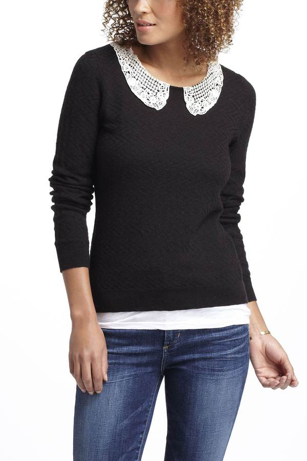 Anthropologie Lace Collar Pullover