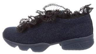 Ganni Denim Ruffled Sneakers