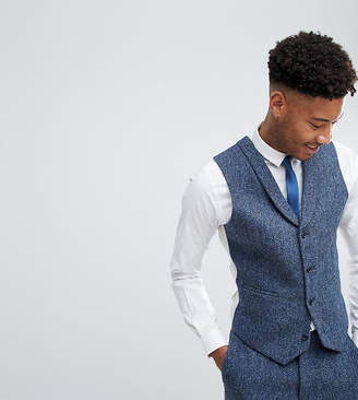 Asos Design TALL Slim Suit Vest in 100% Wool Harris Tweed In Blue Mini Check