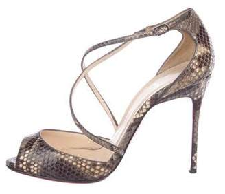 Christian Louboutin Snakeskin Crossover Sandals