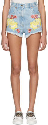 Gucci Blue Denim Embroidered Shorts
