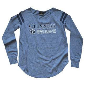 Guinness Navy Slub Brewed In Ireland Trademark Ladies Long Sleeve T-Shirt